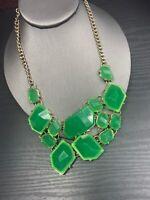 "Vintage Necklace Gold Bib statement  Lucite Cabochons Dark Kelly Green 16"""