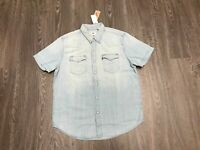 Levi's Denim Western Shirt Short Sleeve Light Stone Wash Pearl Snaps Sz 2XL