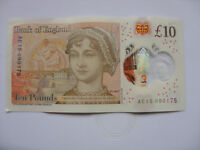 LUCKY £10 NOTE JANE AUSTEN TEN POUND BIRTHDAY  ANNIVERSARY 09 01 75 JANUARY 1975