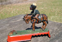 BLACK AMERICANA CAST IRON SPISE A MULE MECHANICAL BANK J & E STEVENS c 1879