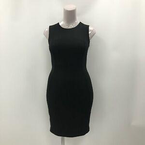 Calvin Klein Dress Black Bodycon Size UK 10 Sleeveless Zipped Formal 031973