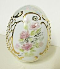 Porcelain Hand Painted Decorative Collectible Egg Butterfly Flowers Cross