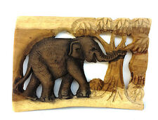 Vintage Hand Carved Wood Thailand Elephant Wall Hanging Home Decor Figure No.1