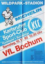 Karlsruher SC KSC VfL Bochum 1. Bundesliga 10. November 1990 Plakat Wildpark