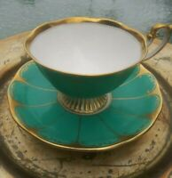 VTG 1950s Royal Albert ART DECO Turquoise & Gold Large Tea Cup and Saucer. EXC.
