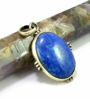 Natural Lapis Lazuli Gemstone & .925 Sterling Silver Pendant Jewelry