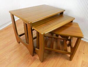 3pc RETRO VARNISHED WOODEN SIDE COFFEE NEST OF TABLES SET SLOT UNDERNEATH SHELF