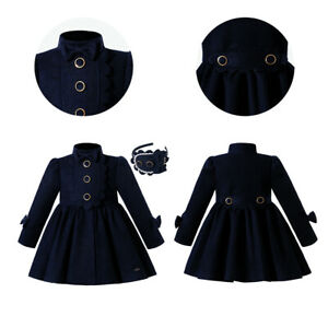 Toddler Girl Winter Warm Dress Coat Parka Bows Outwear Blue Spanish Clothes US