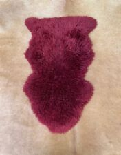 Genuine Natural Australian Sheepskin Rug Single Pelt Dark Maroon 2x3 ft Real Fur
