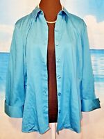 VAN HEUSEN STUDIO Womans TEAL BLUE Blouse Shirt FITTED Casual Career Top size XL