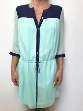 DIANE VON FURSTENBERG  navy mint silk 3/4 sleeve drawstring waist dress sz 2