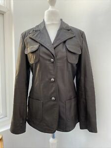 Women's Peter Werth Jacket Size 14 Real Leather Chocolate Brown Fitted