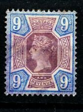 Gb Victoria Used Sg209 9d Purple and Blue mark as scan