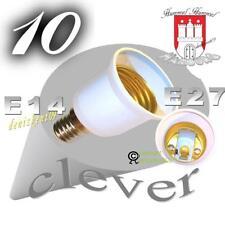 10 Adapter Reduzier. E14 auf E27 für Kerze Birne Lampe LED E27 Halogen Sparlampe