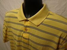 Izod XFG Short Sleeve Polo Rugby Yellow Stripe L 100% Polyester