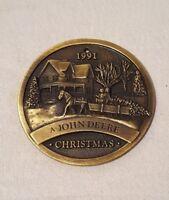 1991 John Deere Brass Christmas Ornament