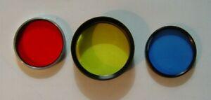 3 Vintage  Camera Lens Filters for Graflex Press Camera Green, Blue, & Red