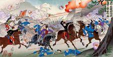 BATTLE OF YALU WOODCUT PAINTING CHINESE SINO JAPANESE WAR ART REAL CANVASPRINT