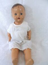 "Vintage Composition Baby Doll 22"" Unmarked Sleep Eyes Open Mouth Cloth Body"