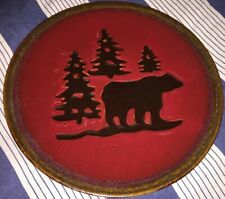 """Set of (2) Home Studio Woodland 11"""" Dinner Plates Bear & Pine Trees Cabin Dishes"""