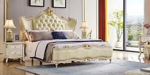 Lujo Chesterfield Completo Dormitorio Cama Mesa de Noche 3tlg. Set Camas Cuero