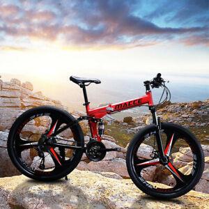 "26"" Folding Mountain Bike Shimano 21 Speed Bicycle Full Suspension MTB Bikes NEW"