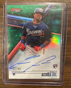 2018 Bowmans Best Ronald Acuna Green Rookie Refractor /99 Auto RC SP ATL Braves
