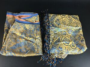 2 ANCIENS TISSUS ANNEES 30 SOIE CHALE TABLIER VINTAGE FABRIC FRENCH ART DECO