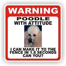 POODLE  DOG WARNING SIGN  FENCE 12 X 12 POLY STYRNE