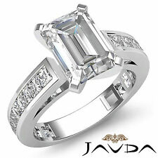 Natural Emerald Cut Diamond Engagement Ring GIA Certified I VS2 Platinum 2.2 ct