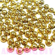 200 pcs 4mm DIY Art Resin faux round Shiny Gold Pearls Flat back Phone Deco
