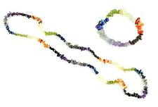 """Chakra Assorted Stone Chip Necklace 36"""" in Length and Stretch Bracelet Set"""