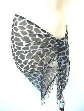 New Ladies Designer Pia Rossini Leopard Print Chiffon Beaded Sarong Black/White