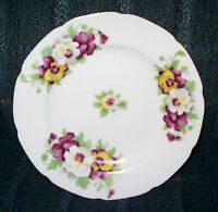 """Saji Occupied Japan Fancy China Pansies Round Gold Trim Collector's Plate 7"""""""