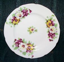 Saji Occupied Japan Fancy China Pansies Round Gold Trim Plate Dish Collectible