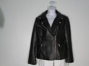 NWT Calvin Klein Women's  Genuine Leather Refined Biker Jacket Black Large