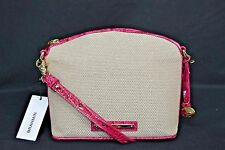 NWT Brahmin Mini Duxbury Shoulder Bag in Punch Harbor, Pink Leather/Beige Fabric
