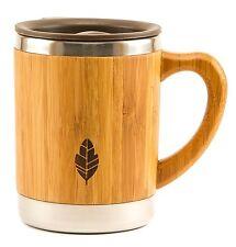 MyHomeIdeas Stainless Steel Bamboo Coffee Tea Mug Lid and Handle - Natural Wood