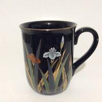Otagiri Japan Coffee Mug Cup Floral Black 10 Oz Collectible