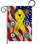 Support All Military Troops Garden Flag Service Armed Forces Yard House Banner