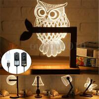 3D LED Dimmable Bed Table Desk Reading Wood Lamp Night Light Warm White    2 F