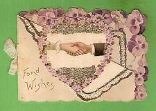 #D281.  OLD  CHRISTMAS  GREETING CARD, FLOWER  DESIGN