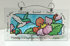 HANDPAINTED HUMMINGBIRD STAINED GLASS PLAQUE WITH STAND