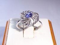 Handmade Ladies 925 Sterling Silver White Sapphire and Tanzanite Dress Ring