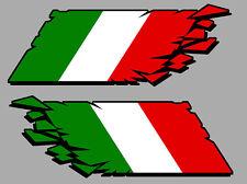 2 X DRAPEAU CASSE ITALIE ITALIEN 12cmX4,5cm AUTOCOLLANT STICKER AUTO DA171