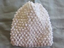 INFANT BEANIE CAP WHITE~0 TO 6 MOS~STRETCH BABY HAT-HALLOWEEN HAT