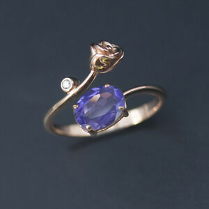1.2ct nano tanzanite rose ring solid 925 sterling silver for women girls gift