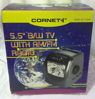 "Vintage Cornet Portable 5.5"" Black & White Television with AM / FM Radio *NEW*"