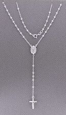 """Rosario Necklace/Pendent.Solid 925 Silver Italy Made 20"""" Chain 3mm Ball A3E3"""