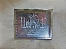 1920s British India Cigarette Case Tin on Copper Taj Mahal & India Map 7786